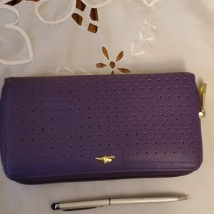 Roots Wallet Purple Zip Around Wallet